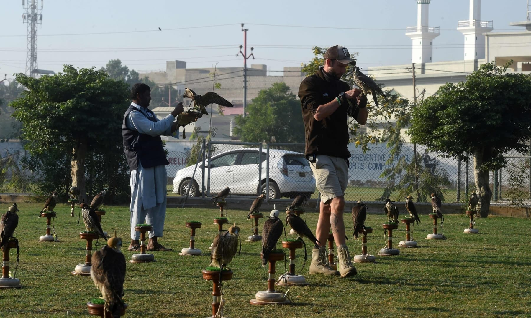 Hielko Van Rijthoven (R), a conservationist working with Wings of Change, examines a falcon seized by authorities from smugglers, in Karachi. — AFP