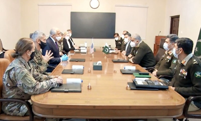 In this file photo, US Special Representative for Afghanistan Reconciliation Ambassador Zalmay Khalilzad and Commander Resolute Support Mission in Afghanistan General Austin Scott Miller meet Chief of the Army Staff Gen Qamar Javed Bajwa. — Photo courtesy Radio Pakistan/File