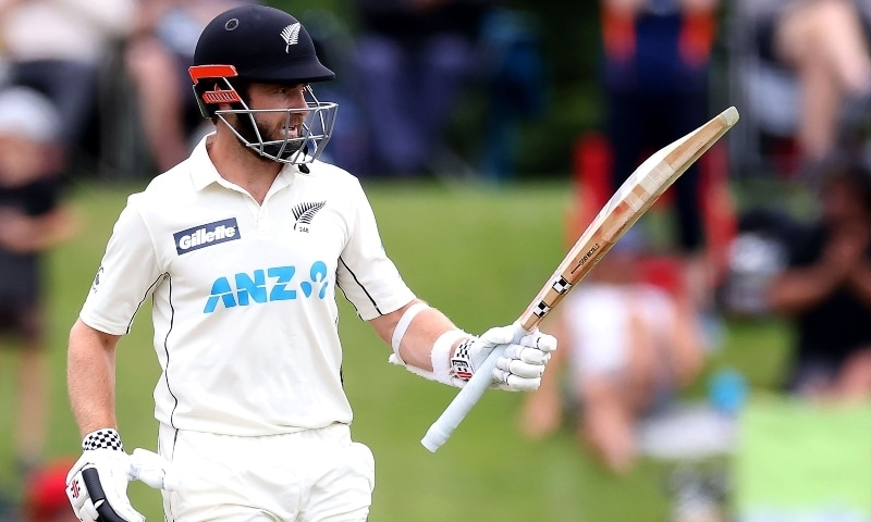 New Zealand's captain Kane Williamson celebrates reaching 150 runs on day three of the second cricket Test match between New Zealand and Pakistan at Hagley Oval in Christchurch on January 5. — AFP
