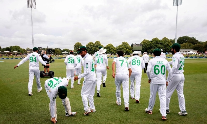 Pakistan's players take the field on day three of the second cricket Test match between New Zealand and Pakistan at Hagley Oval in Christchurch on January 5. — AFP