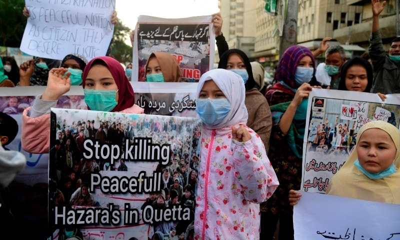 Residents protest the killing of miners of the Shia Hazara community in Karachi on January 5, Tuesday. — AFP