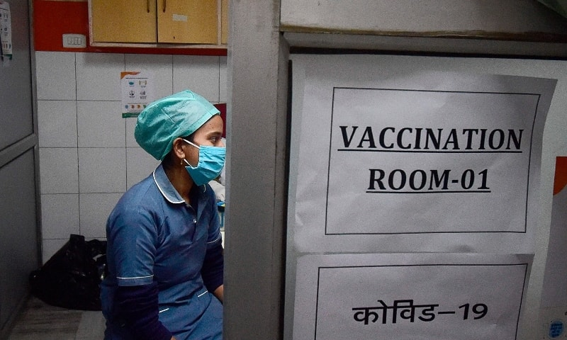 A volunteer is seen during a dry run or a mock drill for the Covid-19 coronavirus vaccine, at a private hospital in Allahabad on January 5. — AFP