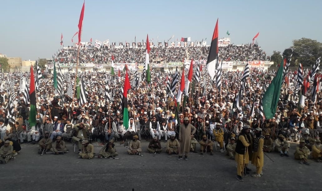A view of the crowd at the Bannu rally. — Photo: Sirajuddin