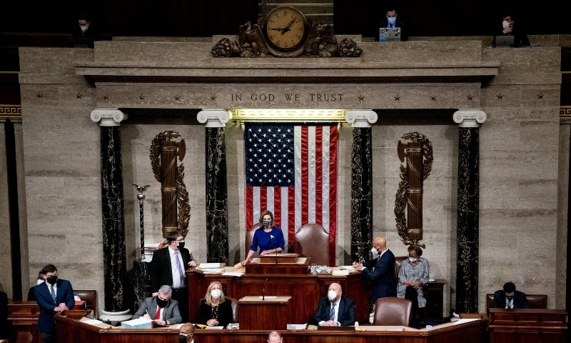 House Speaker Nancy Pelosi speaks as the House of Representatives reconvenes to continue the process of certifying the 2020 Electoral College results on Jan 6. — Reuters