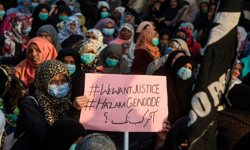 Shia Muslims gather during a protest against the killing of miners of the Shia Hazara community, who were killed in an attack by gunmen in the mountainous Mach area, in Karachi on Jan 6, 2021. — AFP
