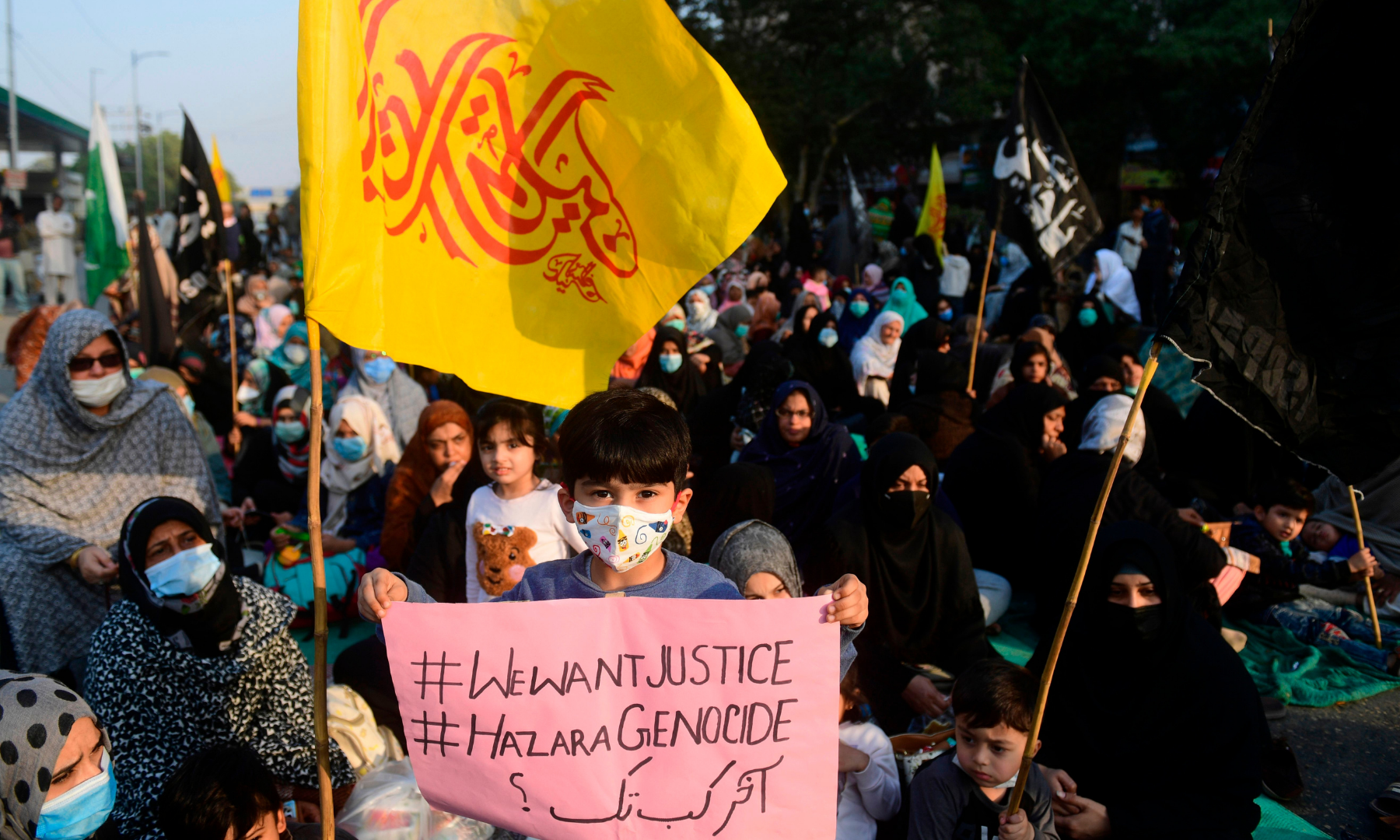 Shia Muslims gather during a protest against the killing of miners in Karachi on Jan 6. — AFP