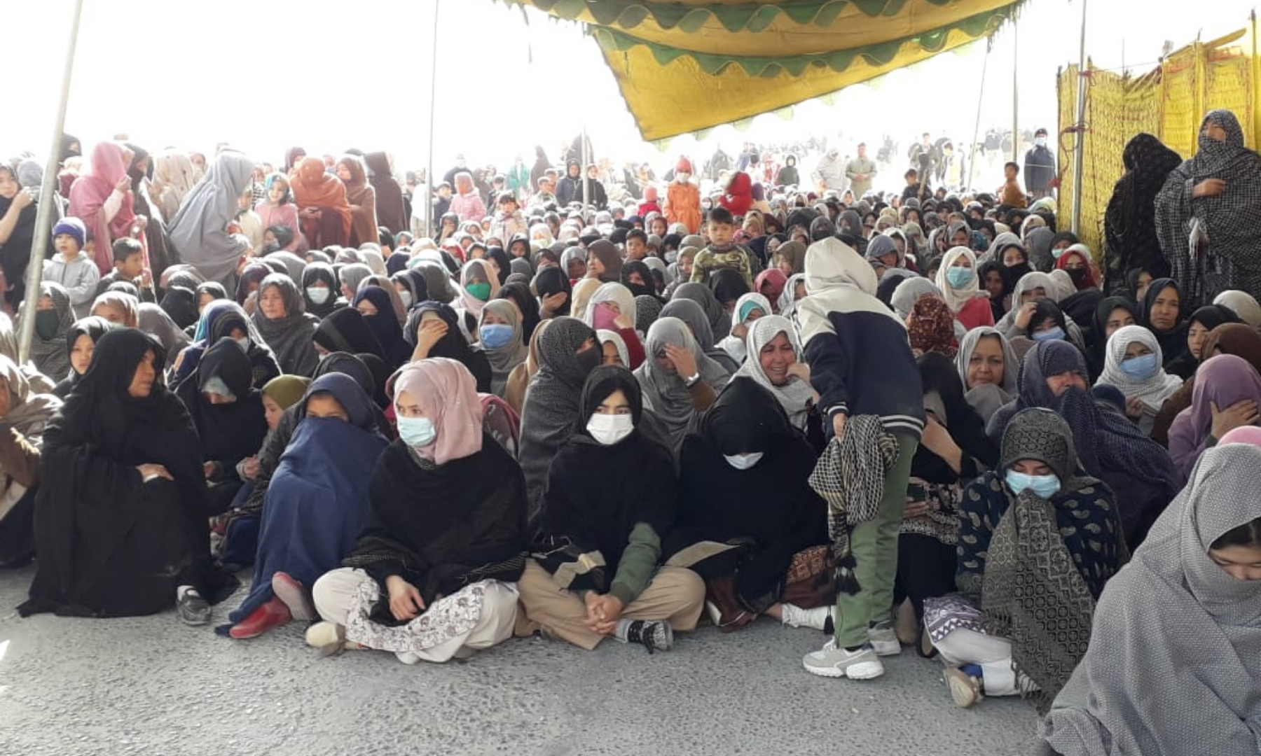 A large number of women protesters are seen as the sit-in against the killing of Shia Hazara miners in Mach continues for the fifth day on Thursday. — Photo by Ghalib Nihad