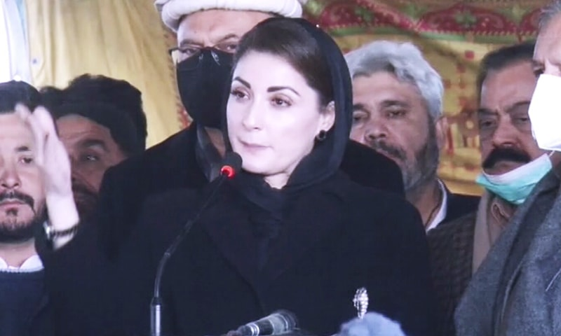 Maryam Nawaz addresses Hazara protesters in Quetta. — DawnNewsTV