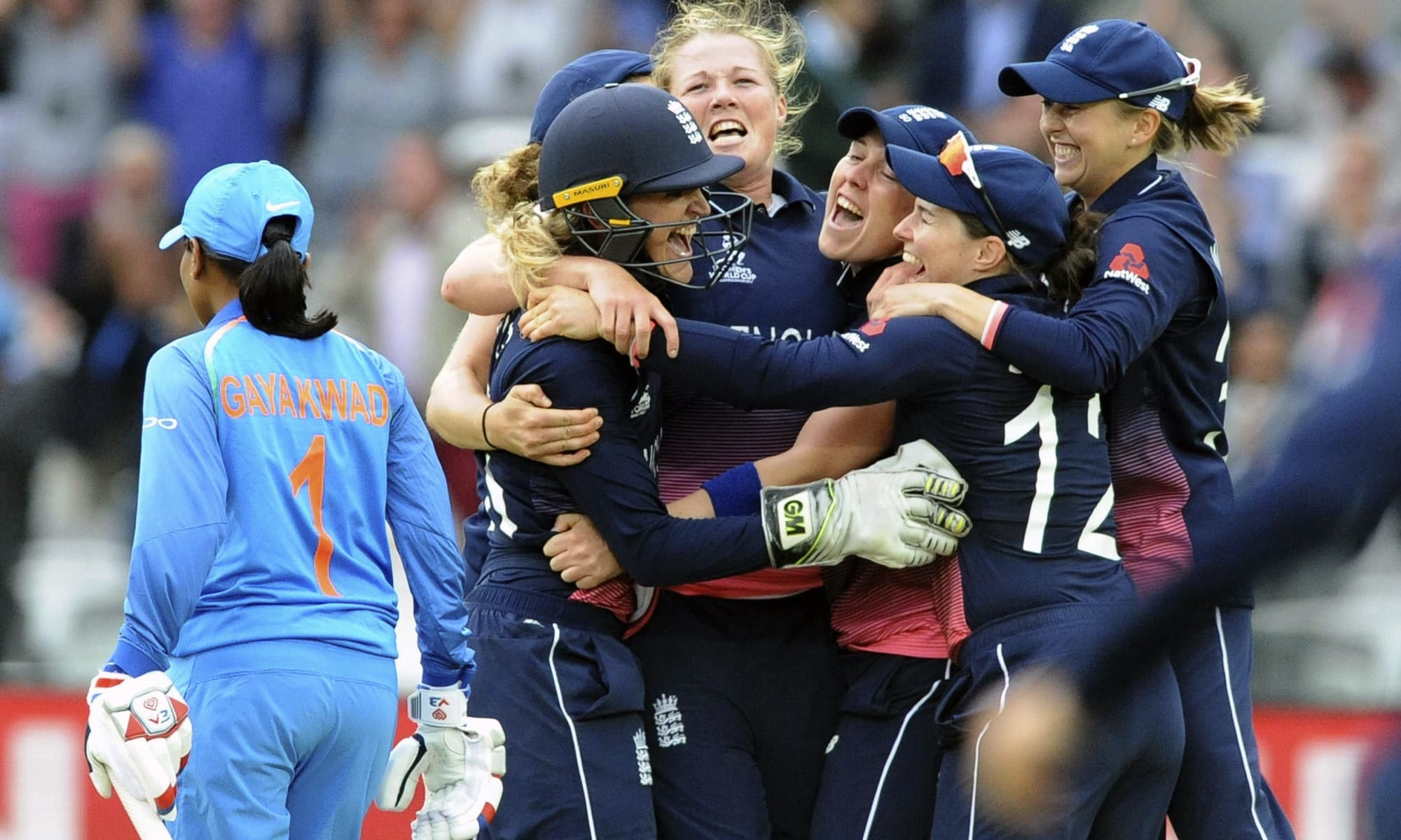 In this file photo, England's players celebrate as they win the ICC Women's World Cup 2017 final match against India. —AP/File