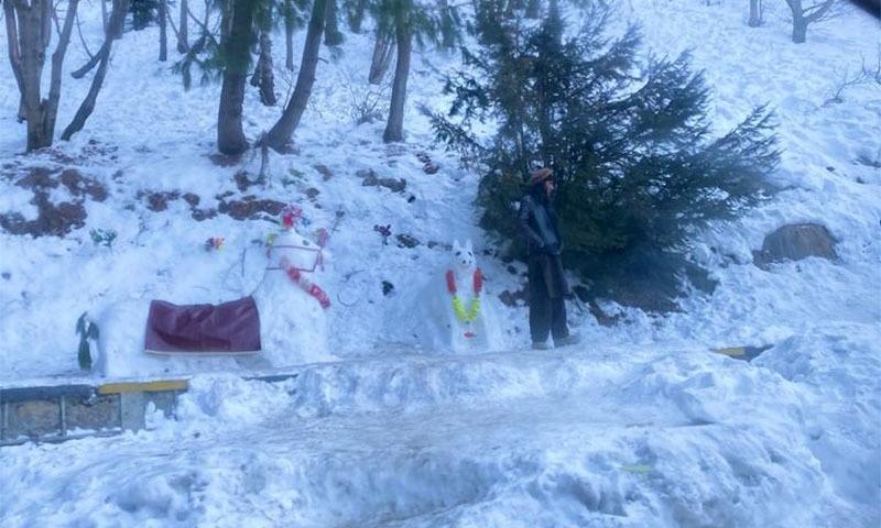 اندھیرا ہونے سے قبل ہم اور ہمارے بچے برف سے خوب کھیلے