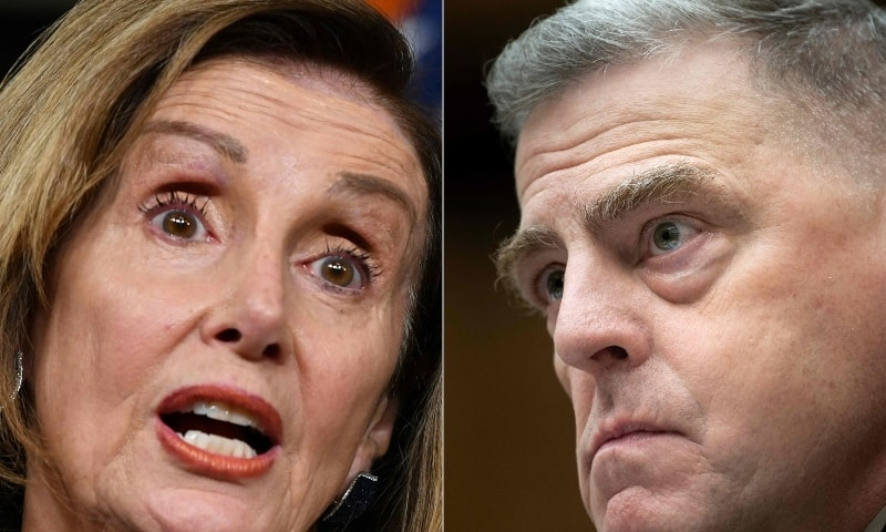 This combination of file pictures created on January 08 shows US Speaker of the House, Nancy Pelosi (L), Democrat of California, and Joint Chiefs of Staff Chairman Gen Mark Milley in Washington, DC. — AFP