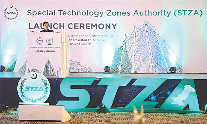 ISLAMABAD: Prime Minister Imran Khan speaks at the launching ceremony of the Special Technology Zones Authority on Friday. — APP