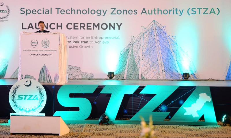 Prime Minister Imran Khan addresses the  launching ceremony of the Special Technology Zones Authority (STZA) in Islamabad on Friday. — PID