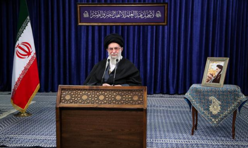 Iran's Supreme Leader Ayatollah Ali Khamenei delivers a televised speech, in Tehran, Iran on Jan 8. — Reuters