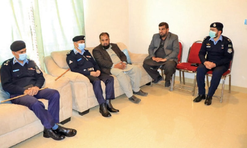 IGP Qazi Jamilur Rehman meets family members of Osama Satti in Islamabad on Saturday.