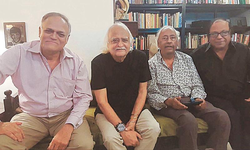 Left to right: Javed Jabbar, Anwar Maqsood, Irfan Husain and Javid Ali Khan in 2019   Photos courtesy Javed Jabbar