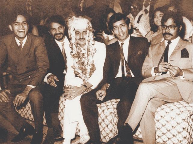 Left to right: Javed Jabbar, Shahid Sajjad, the bridegroom Anwar Maqsood, Irfan Husain and Javid Ali Khan in 1969