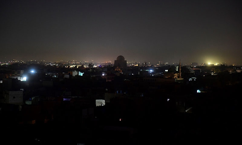 A general view shows Pakistan's port city of Karachi during a power breakdown early on January 10, 2021. — AFP