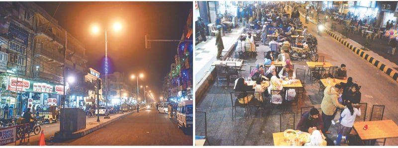 The pedestrianised portion of Burnes Road as seen on Monday evening and (right) families have their dinner at the venue.—Fahim Siddiqi/Shakil Adil/White Star