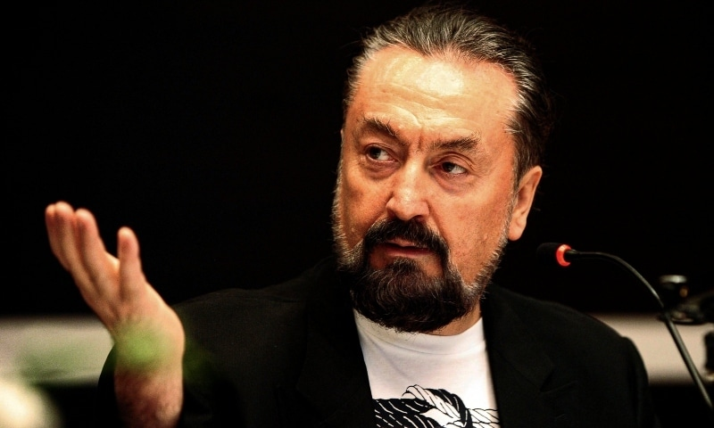 Adnan Oktar, a Turkish televangelist gestures as he talks during a media conference in Istanbul, on 12 May, 2011. - AP