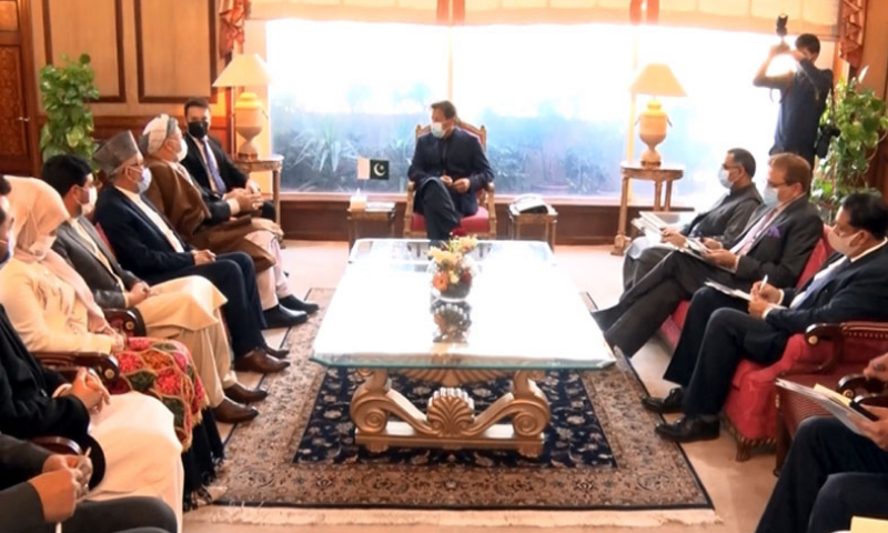 Afghan High Peace Council Chairman and leader of the Hizb-e-Wahdat-e-Islami (Afghan Unity Party), Mohammad Karim Khalili, meets Prime Minister Imran Khan on Tuesday. — Photo courtesy: Radio Pakistan