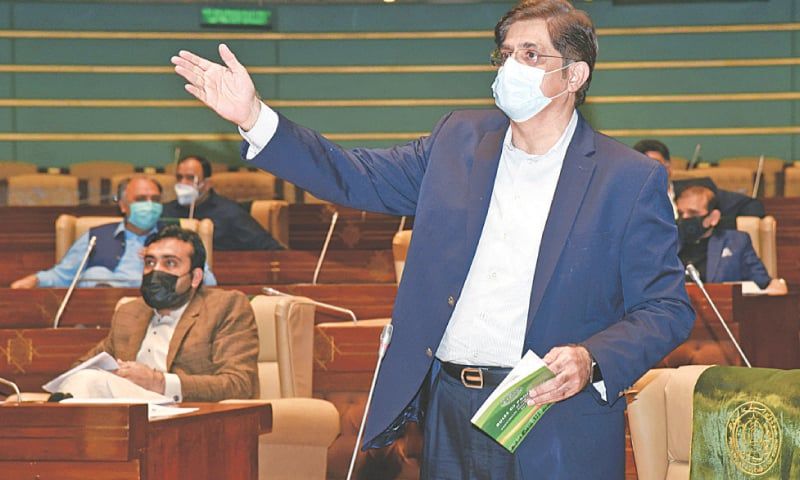 Murad Ali Shah speaks during Tuesday's session of the house.—Online