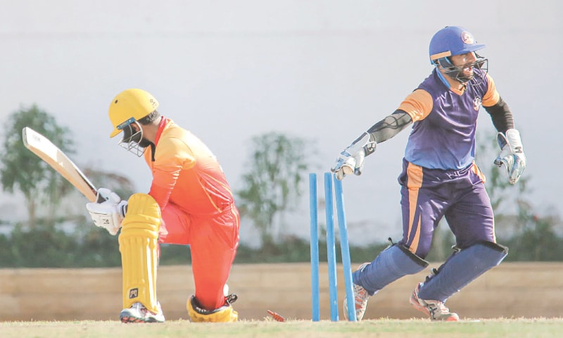 KARACHI: Sindh captain Saud Shakeel is stumped by Central Punjab wicket-keeper Mohammad Akhlaq during their Pakistan Cup match at the NBP Sports Complex on Tuesday.—PCB