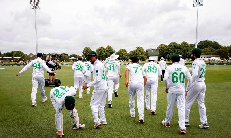 Pakistan's players take the field on day three of the second cricket Test match between New Zealand and Pakistan at Hagley Oval in Christchurch on January 5. — AFP/File