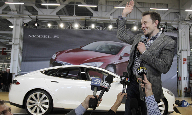 Tesla chief executive Elon Musk is seen speaking to the media in this undated file. Musk has tweeted several times in recent years about an impending foray into India. — AP