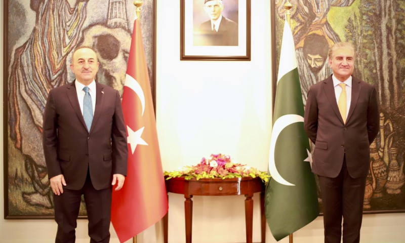 Turkish Foreign Minister Mevlut Cavusoglu and Foreign Minister Shah Mahmood Qureshi at the Foreign Office. — Photo by FO