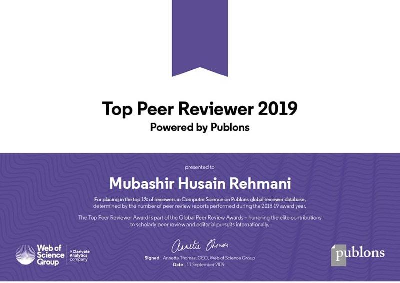 2019ء کے بہترین ماہر مقالہ کا ایوارڈ بھی ڈاکٹر مبشر کو دیا گیا