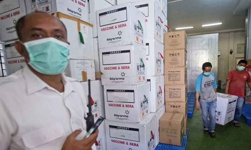 انڈونیشیا کو چینی کمپنی نے دسمبر 2020 میں ہی ویکسینز کی پہلی کھیپ مہیا کردی تھی—فوٹو: اے پی