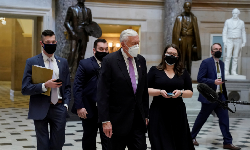 United States House Majority Leader Steny Hoyer walks to the House Chamber as Democrats debate one article of impeachment against US President Donald Trump at the US Capitol, in Washington on Wednesday. — AFP