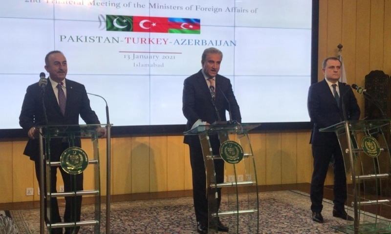 (From left) Turkish Foreign Minister Mevlut Cavusoglu, Foreign Minister Shah Mehmood Qureshi and Azerbaijani Foreign Minister Jeyhun Bayramov address a joint press conference in Islamabad. — Photo provided by Naveed Siddiqui