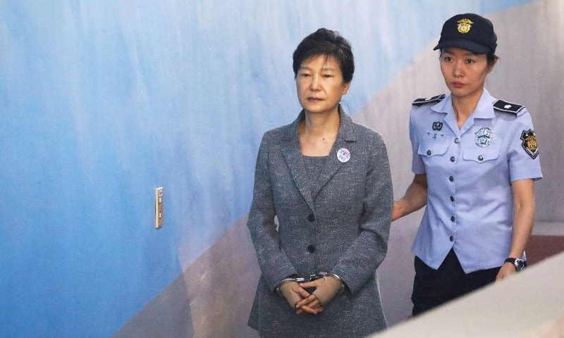 In this 2017 file photo, South Korean ousted leader Park Geun-hye arrives at a court in Seoul. — Reuters