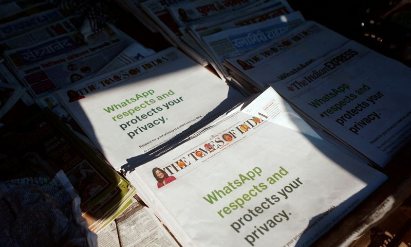 A WhatsApp advertisement is seen on the front pages of newspapers at a stall in Mumbai, India, Jan 13, 2021. — Reuters