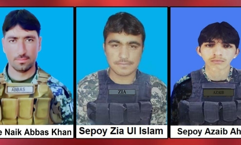 (From left) Lance Naik Abbas Khan, Sepoy Zia Ul Islam and Sepoy Azaib Ahmed who were martyred in North Waziristan. — Photo: ISPR