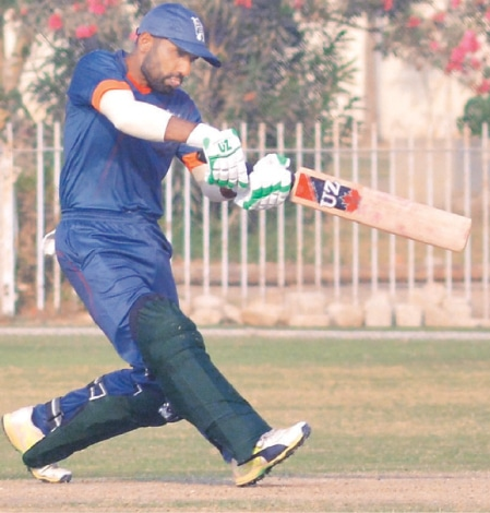 BALOCHISTAN'S Ayaz Tassawar pulls during his knock of 69 against Sindh at the UBL Sports Complex.—PCB