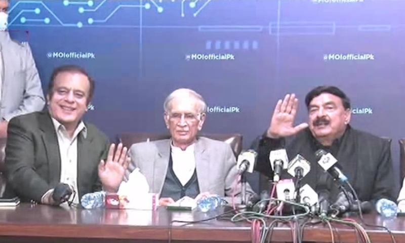 Interior Minister Sheikh Rashid Ahmed (far right), Information Minister Shibli Faraz (far left) and Defence Minister Pervez Khattak announced the decision. - DawnNewsTV