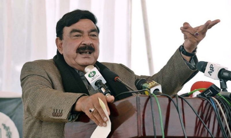 Interior Minister Sheikh Rashid Ahmed addresses a press conference in Lahore on Friday. — APP