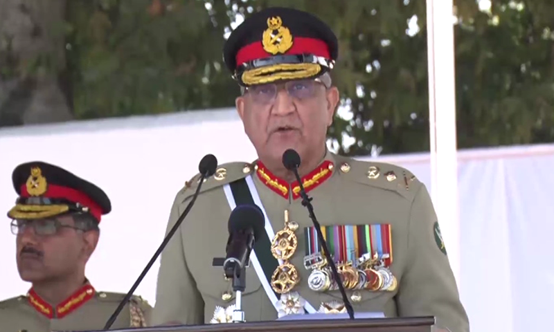 In this file photo, Chief of Army Staff Gen Qamar Javed Bajwa addresses the passing out parade of cadets at the Pakistan Military Academy Kakul. — DawnNewsTV