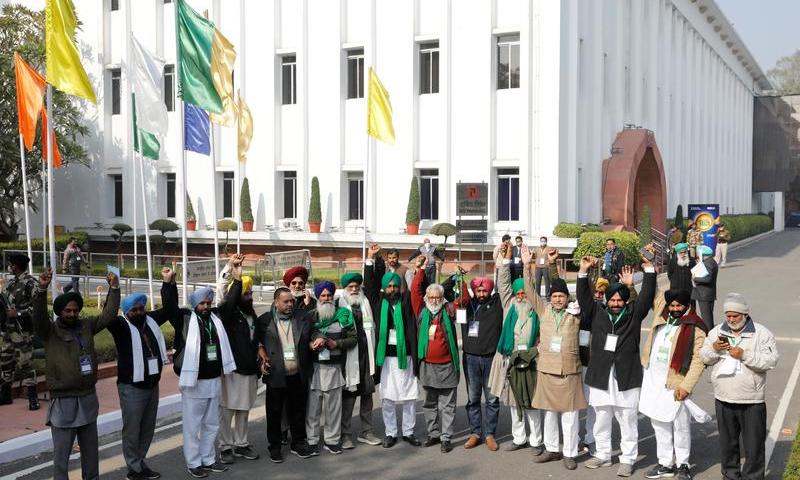In this file photo, farmer leaders gesture as they arrive to attend a meeting with government representatives in New Delhi, India, December 30, 2020. — Reuters
