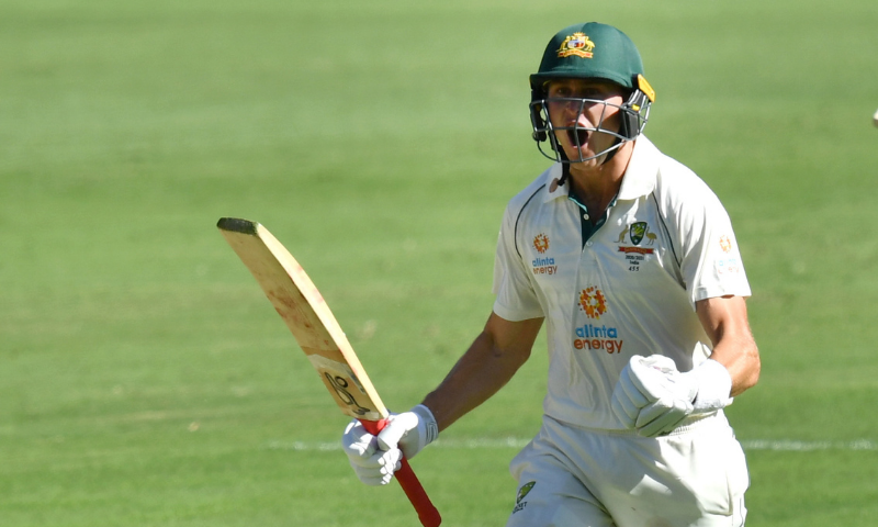 Marnus Labuschagne of Australia celebrates scoring a century during day one of the fourth test match between Australia and India at the Gabba in Brisbane, Australia on Friday. — Reuters