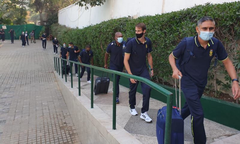 The South African cricket team is seen on their arrival in Karachi, Pakistan. — Photo courtesy: PCB
