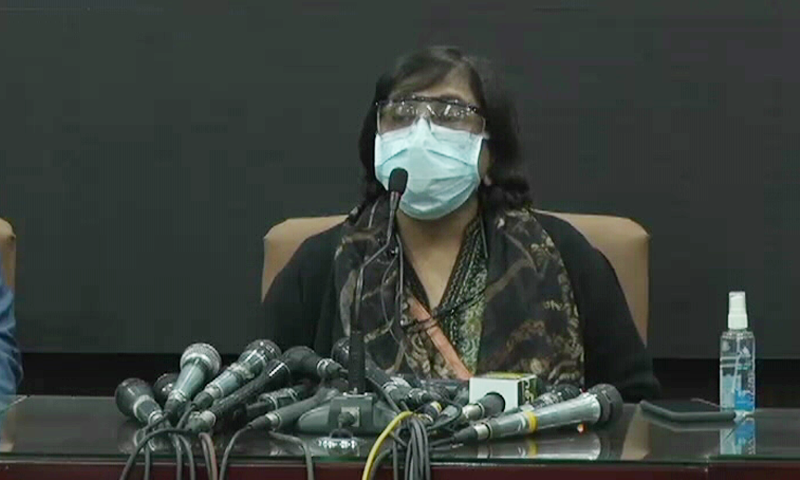 Sindh Health Minister Dr Azra Pechuho addresses a press conference. — DawnNewsTV