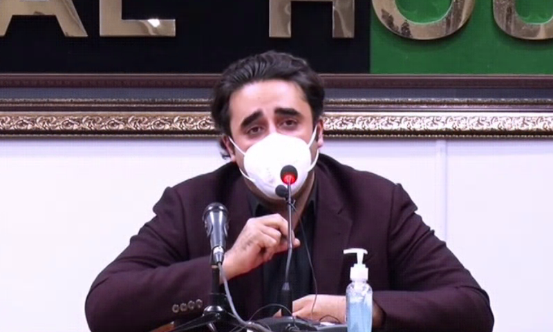 PPP Chairperson Bilawal Bhutto-Zardari speaks to the media in Karachi. — DawnNewsTV