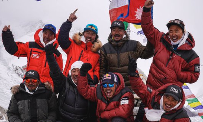 The team of Nepalese climbers which made history by becoming the first to summit K2 in winter. — Photo courtesy: Radio Pakistan
