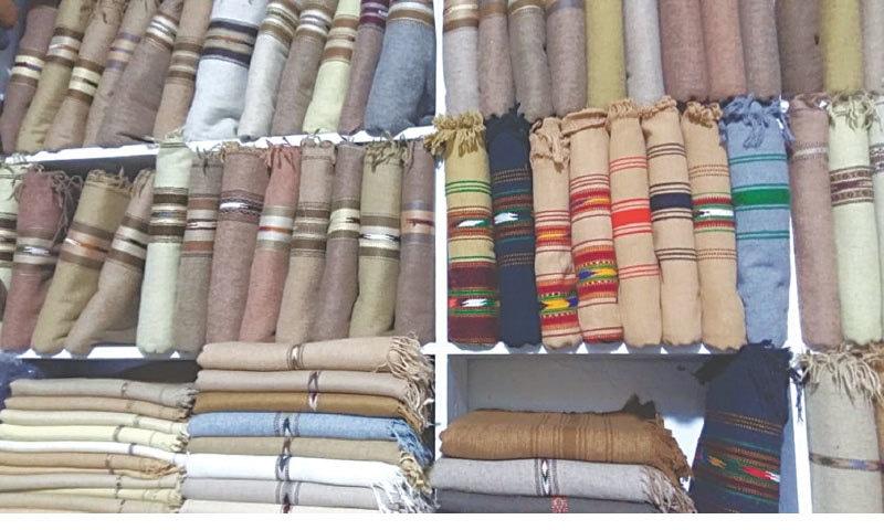 Khaddar shawls displayed in a variety of shades and hues at the centuries-old Rajjar market in Charsadda