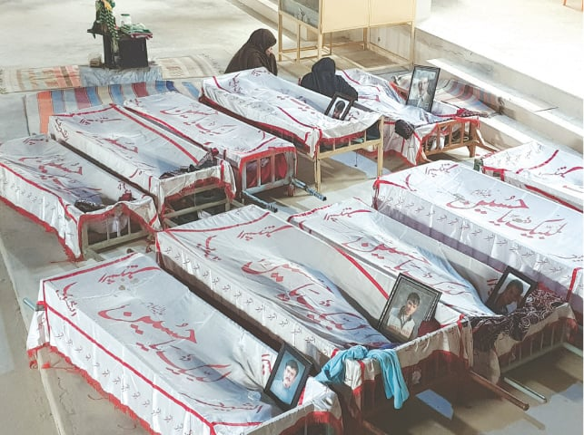 Bodies of the 10 coal miners who were killed in Mach | Habib Qasimi