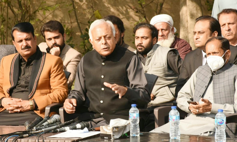 Aviation Minister Ghulam Sarwar Khan addresses a press conference in Rawalpindi on Saturday. — PID
